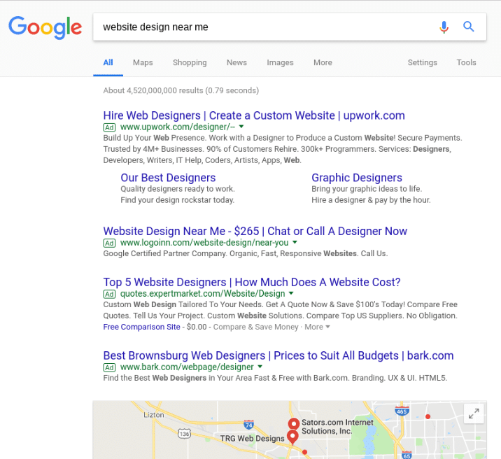 Image showing search engine marketing advertisements