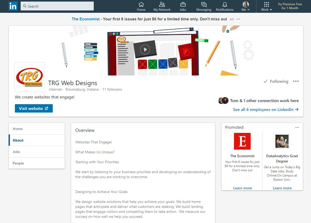 Image showing TRG Web Designs LinkedIn Page