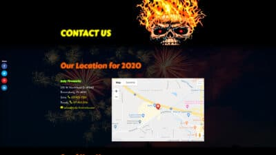 Indy Fireworks Contact Us Page screenshot