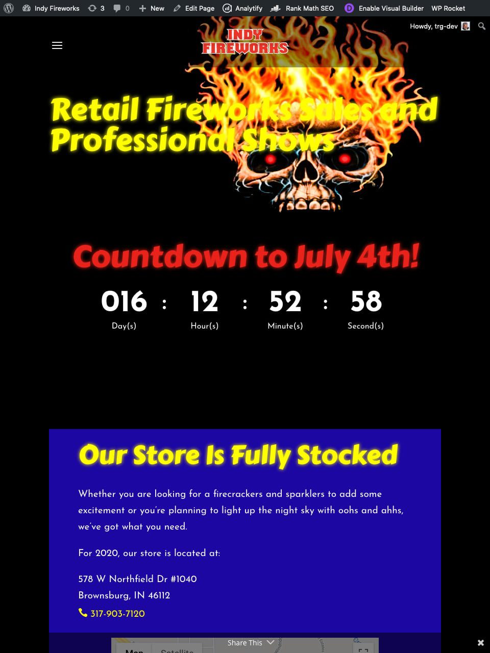 Indy Fireworks Home Page Tablet Screenshot